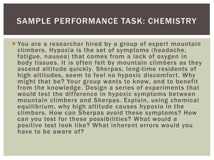 Sample Performance Task: Chemistry