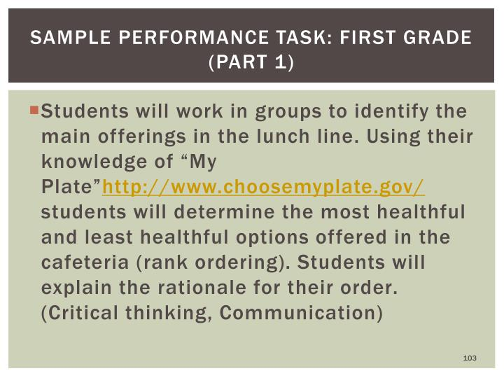 Sample Performance Task: First Grade (part 1)