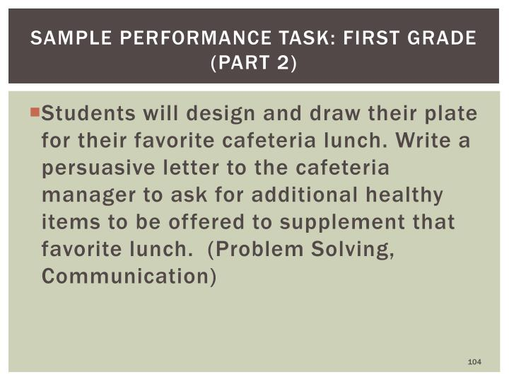 Sample Performance Task: First Grade (part 2)
