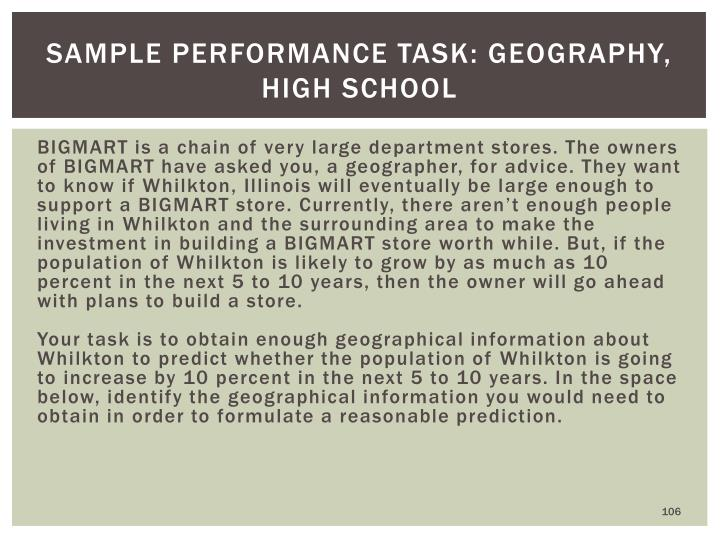 Sample Performance Task: Geography, High School