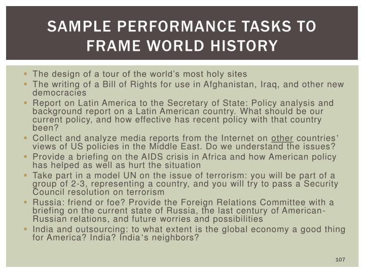 Sample performance tasks to frame world history