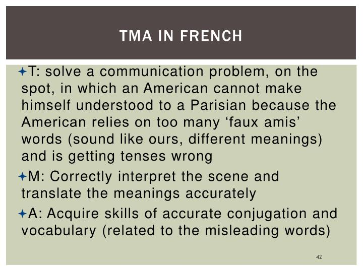 TMA in French