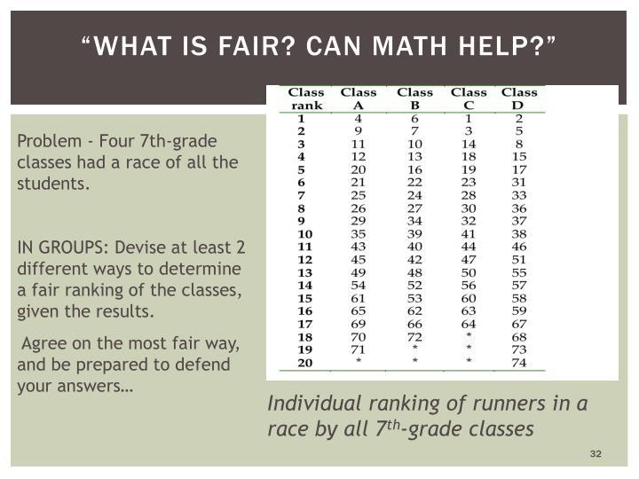 """""""What is Fair? Can math help?"""""""