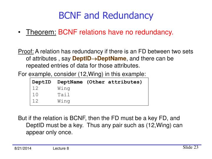 BCNF and Redundancy