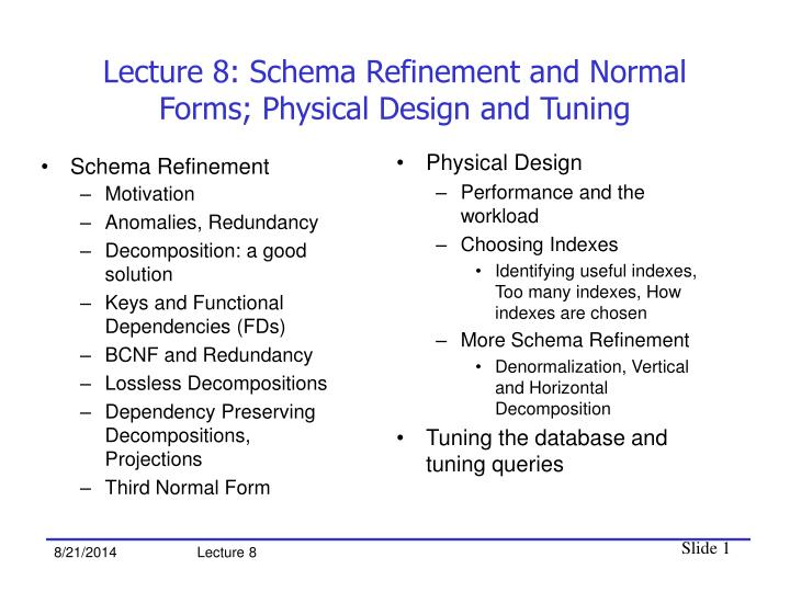Lecture 8 schema refinement and normal forms physical design and tuning