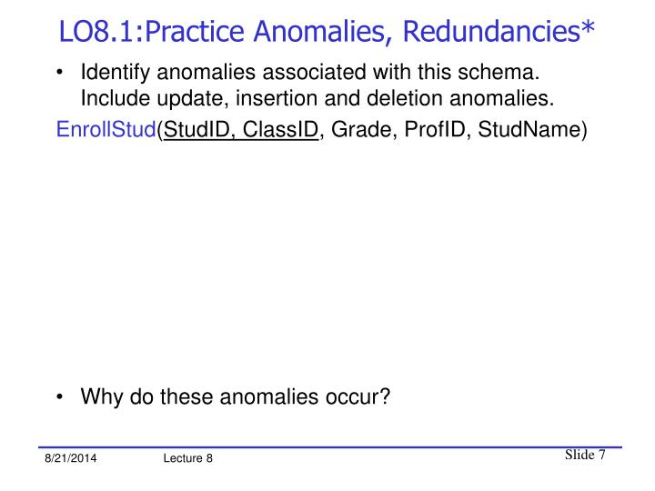 LO8.1:Practice Anomalies, Redundancies*
