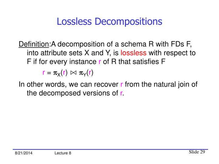 Lossless Decompositions