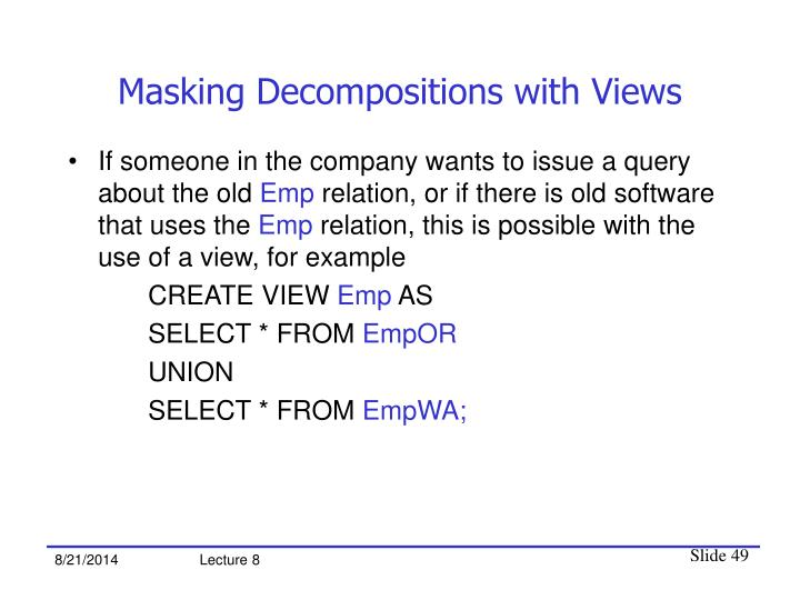 Masking Decompositions with Views