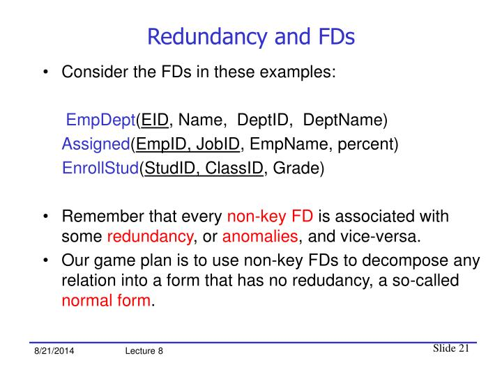 Redundancy and FDs