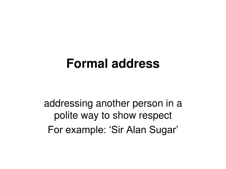 Formal address