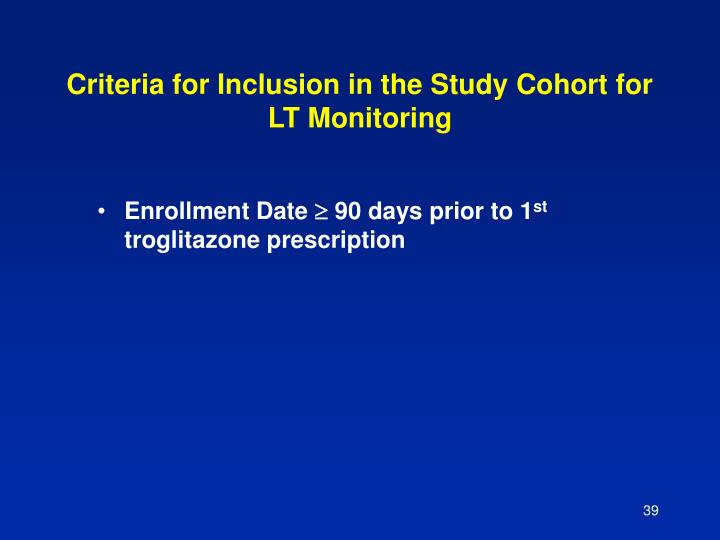 Criteria for Inclusion in the Study Cohort for LT Monitoring
