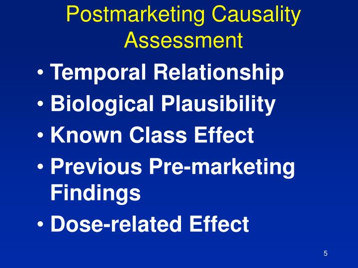 Postmarketing Causality Assessment