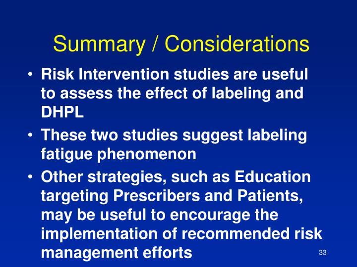 Summary / Considerations