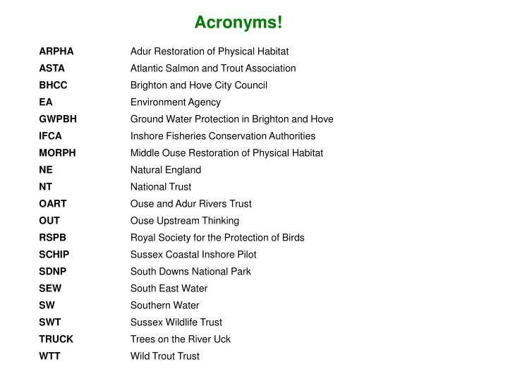 Acronyms!
