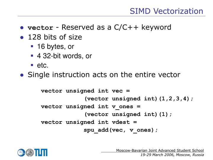 SIMD Vectorization