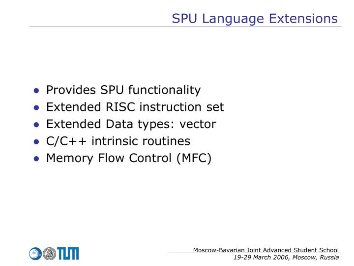 SPU Language Extensions