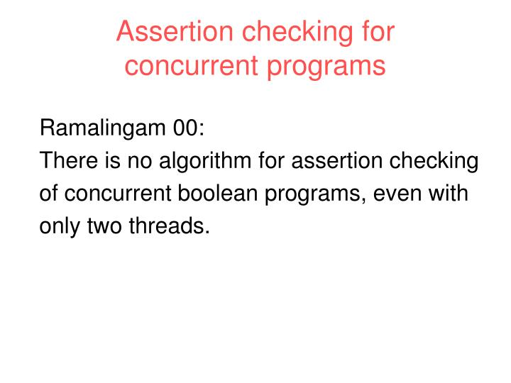 Assertion checking for