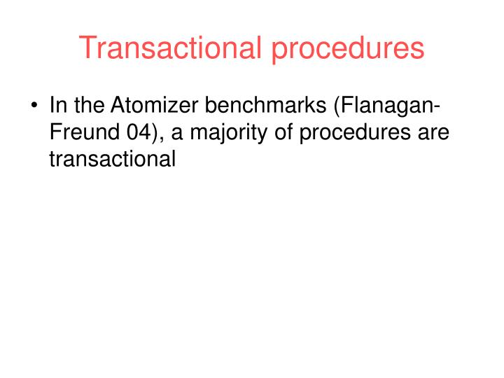 Transactional procedures