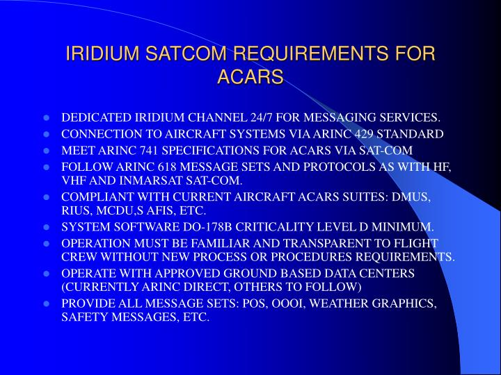 acars via iridium Miami, nov 6 -- avionica is pleased to announce that satlink, the iridium(tm) satellite-based data communications module, has successfully passed sita's vaq process in several tested configurations and has been qualified for operation on the sita acars network satlink is the first iridium(tm.