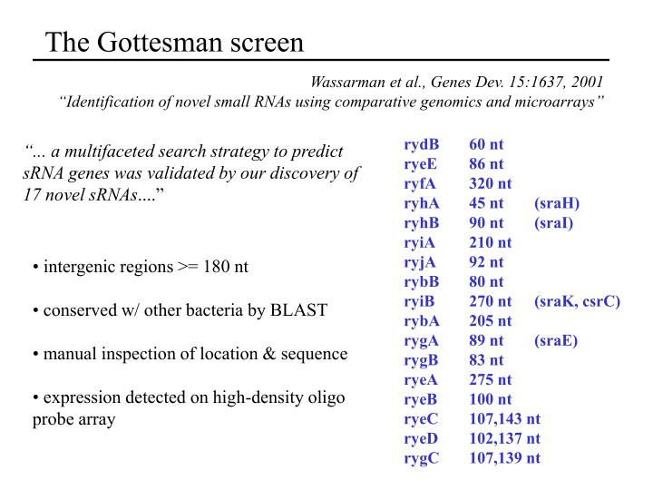 The Gottesman screen