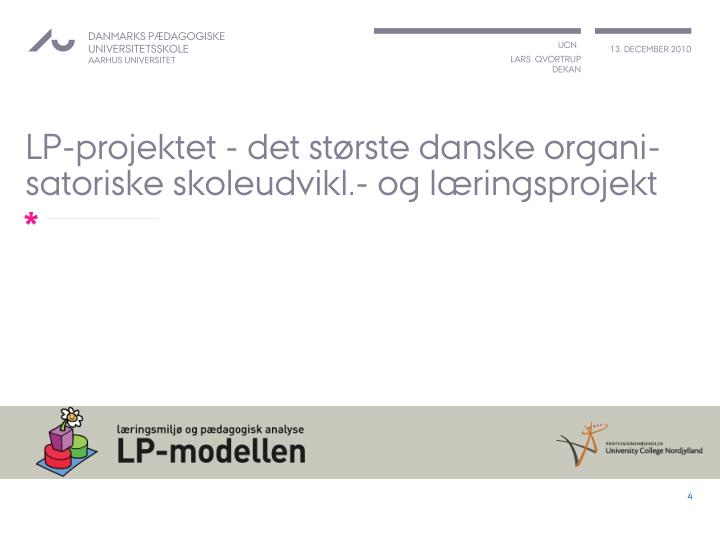 LP-projektet - det største danske organi-satoriske skoleudvikl.- og læringsprojekt