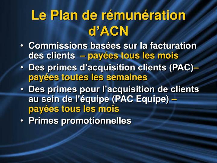 Le Plan de rémunération d'ACN