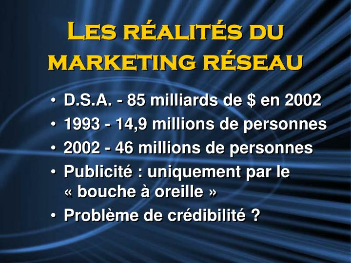 Les r alit s du marketing r seau