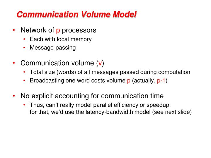 Communication Volume Model