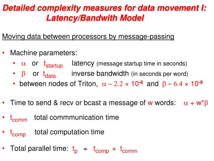 Detailed complexity measures for data movement I: