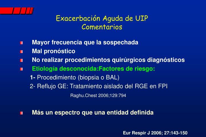 Exacerbación Aguda de UIP