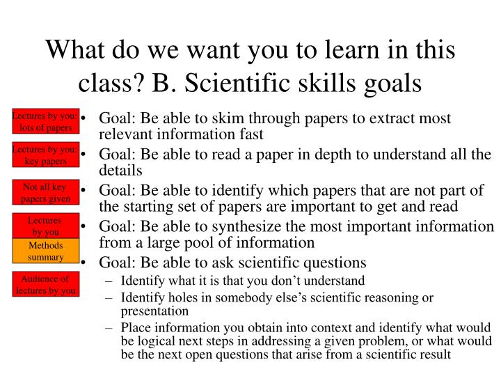 What do we want you to learn in this class? B. Scientific skills goals