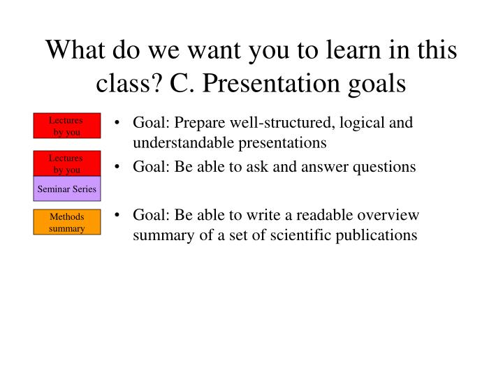 What do we want you to learn in this class? C. Presentation goals