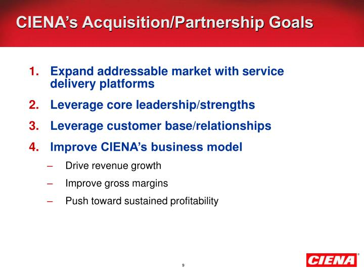 CIENA's Acquisition/Partnership Goals