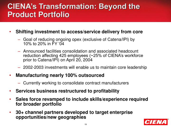 CIENA's Transformation: Beyond the Product Portfolio