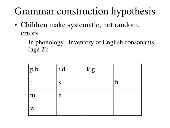 Grammar construction hypothesis