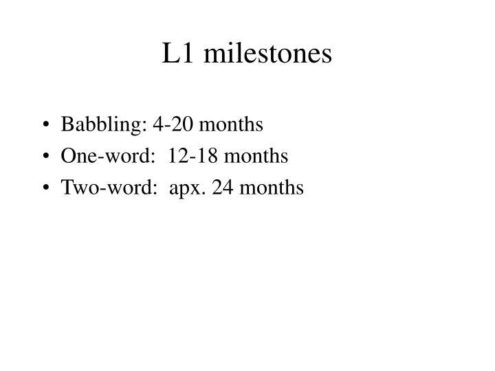 L1 milestones