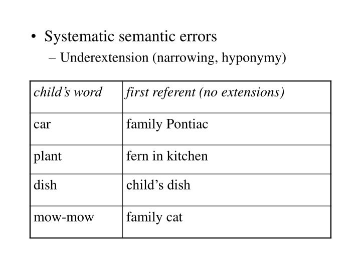 Systematic semantic errors