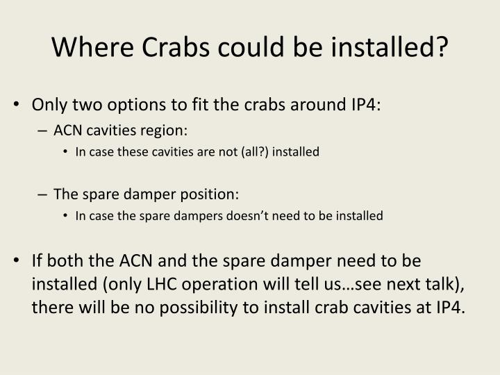 Where crabs could be installed