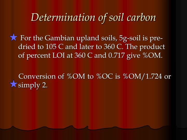 Determination of soil carbon