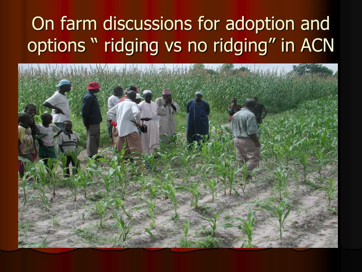 "On farm discussions for adoption and options "" ridging vs no ridging"" in ACN"