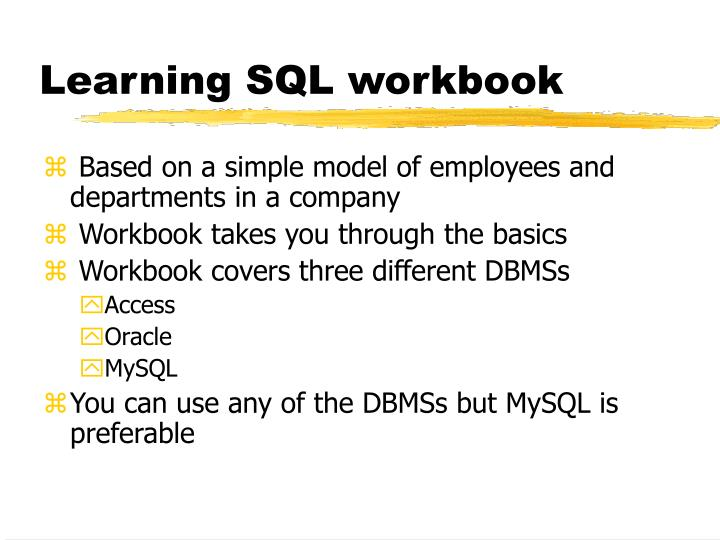 Learning SQL workbook