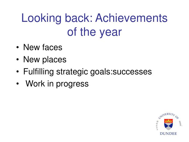 Looking back: Achievements of the year