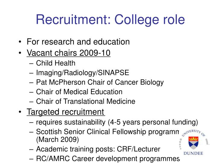 Recruitment: College role
