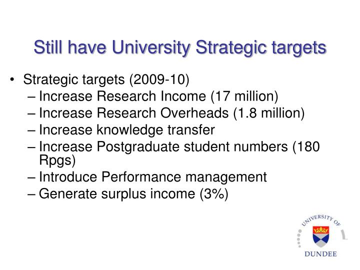 Still have University Strategic targets