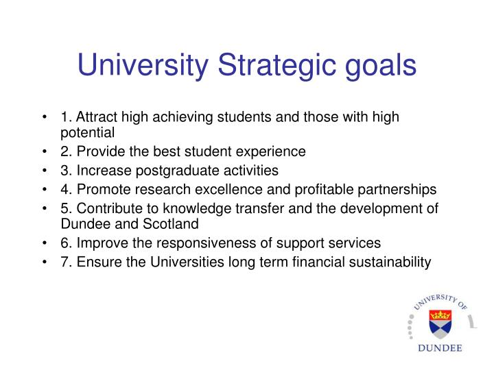 University Strategic goals
