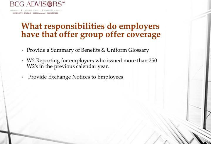 What responsibilities do employers have that offer group offer coverage