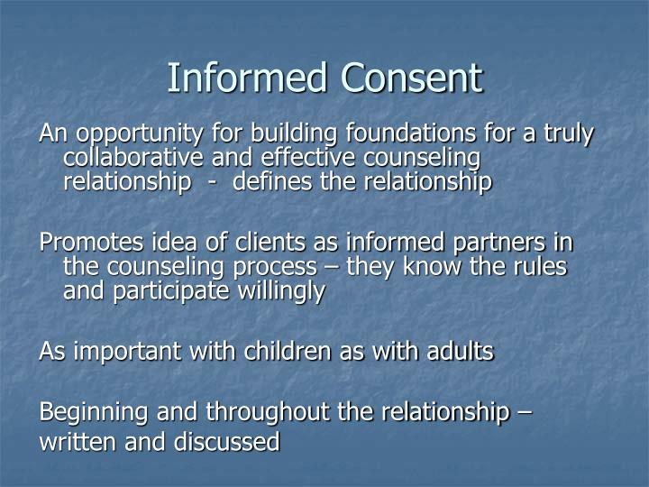 informed consent in the counseling relationship with clients