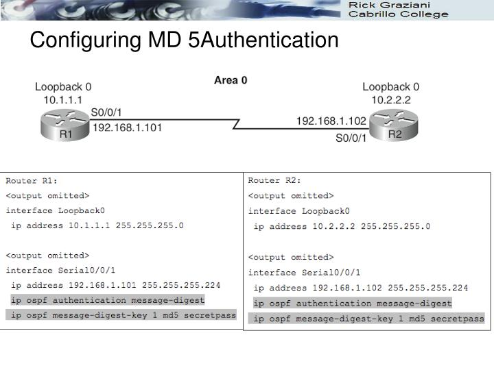 Configuring MD 5Authentication