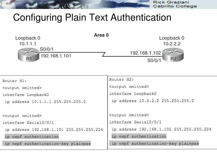 Configuring Plain Text Authentication