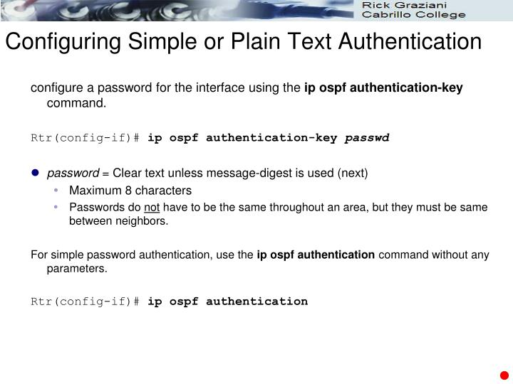 Configuring Simple or Plain Text Authentication